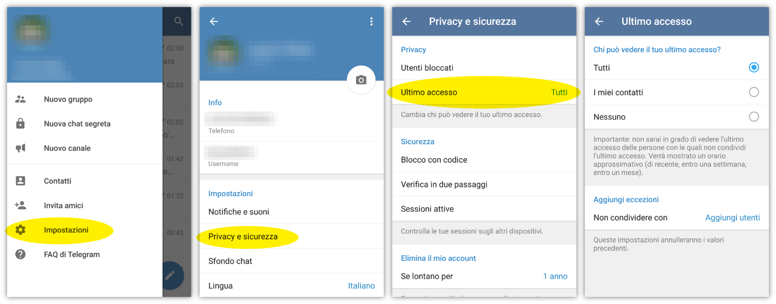 Modificare la privacy su Android