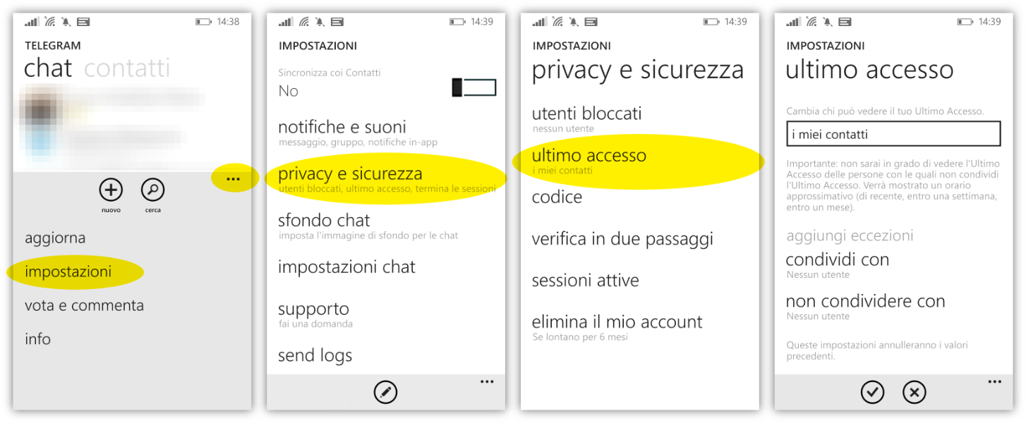 Impostare la privacy su Windows Phone