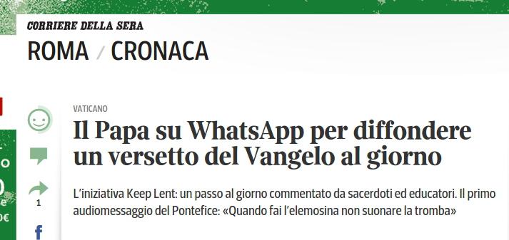 Errore WhatsApp Corriere della Sera